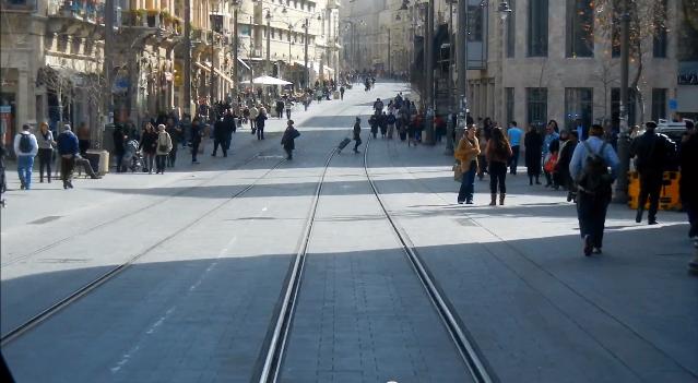 רחוב יפו בירושלים נתיב הרכבת הקלה